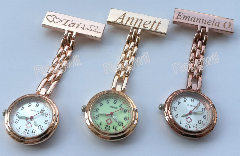 Personalized Customized FREE Engraved With Your Name TOP QUALITY Pin Brooch Stainless Steel Lapel Pocket Watch Fob Nurse Watch