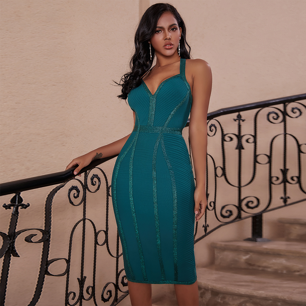 Ocstrade Green Bandage Dress 2020 Women Fashion Halter Backless Sexy Bandage Dress Bodycon Celebrity Evening Club Party Dress