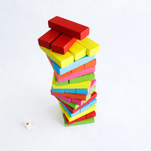 48PCS Wooden Large Colorful Blocks Building Jenga Pulling Children Educational Toys children toys 0215