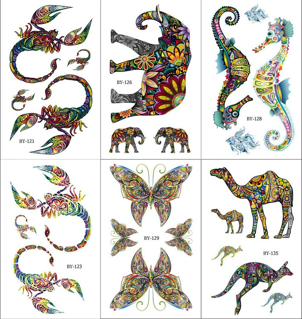 Colorful Gecko Cat Tattoos Temporary Men Women Scorpion Arm Hippo Art Tattoo Stickers Scorpion Water Transfer Tatto Camel Horse