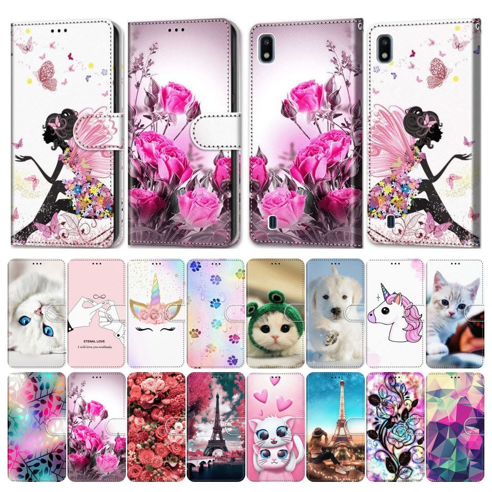 Flip Phone Cover For Case Samsung Galaxy M40 A750 A70 A60 A6 A7 2018 Girl Boy Phone Bags Cute Lovely Colored Painted Flower E08F image