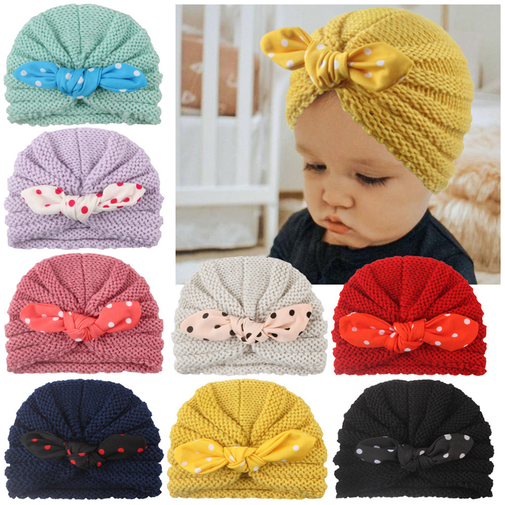 Fashion Cotton Baby Girls Hats Autumn Winter Hats Lovely Bow Hats Beanie Turban Head Accessories Kids Gifts
