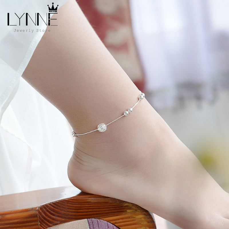 Hot Sale Fashion 925 Sterling Silver Anklet Chain Hollow Ball Pendant Anklets Bracelet Chain For Women's Wedding Jewelry Gift