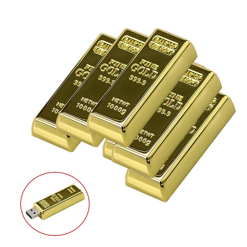 Rectangle USB Personalised Pendrive 256 32 8 Gb Bullion Gold Bar Chiavetta Usb 4GB 16GB 32GB Flash Drive 128GB 64GB Memory Stick