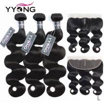 Yyong Haar 3 Bundels Braziliaanse Body Wave Met Frontale Remy Human Hair Bundels Met 13X4 Oor Tot Oor Kant Frontale