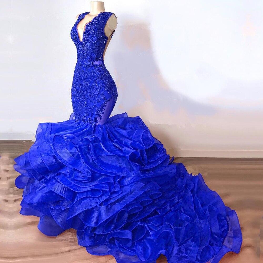 Bleu Royal sirène longue robes de soirée à plusieurs niveaux Organza col en V sur mesure robes de soirée pour les femmes robe formelle robe de soirée de bal