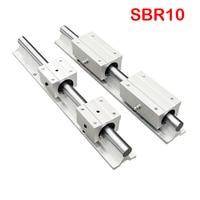 Sbr trilho linear 10mm sbr10 comprimento 200mm a 1000 mm 1 conjunto: 1pcs guia linear sbr10 + 2 pces sbr10uu blocos