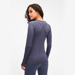 Image 2 - Nepoagym oceano mulher yoga sem costura superior super macio manga longa camisa elástico workout topos esportes wear para mulher ginásio