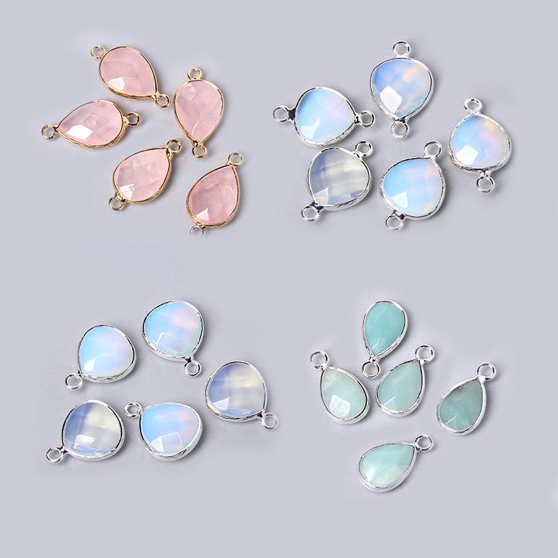 3pcs/set Natural Aventurine Rose Pink Quartzs Opal Stone Pendants Charm DIY Making Necklace Earrings For Women Exquisite Jewelry