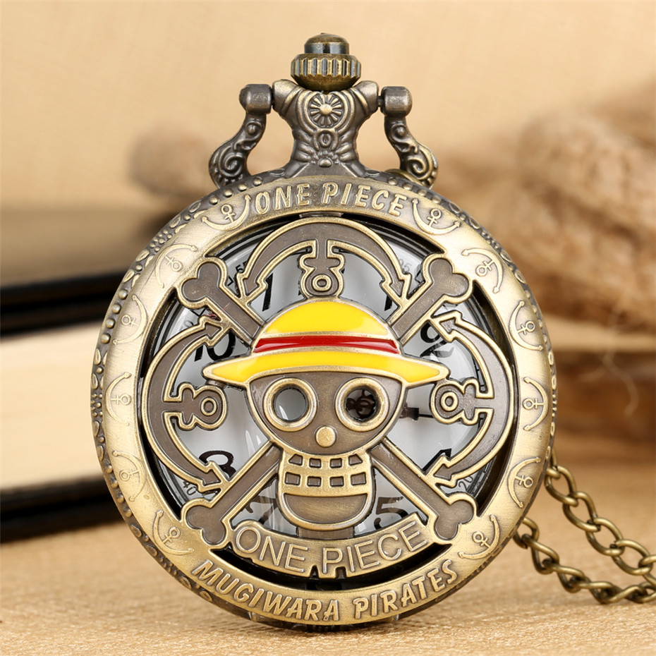 Hot Japanese Anime One Piece Theme Quartz Pocket Watch Luffy Hats Pendant Pocket Watch Necklace Clock Gifts Students Fans