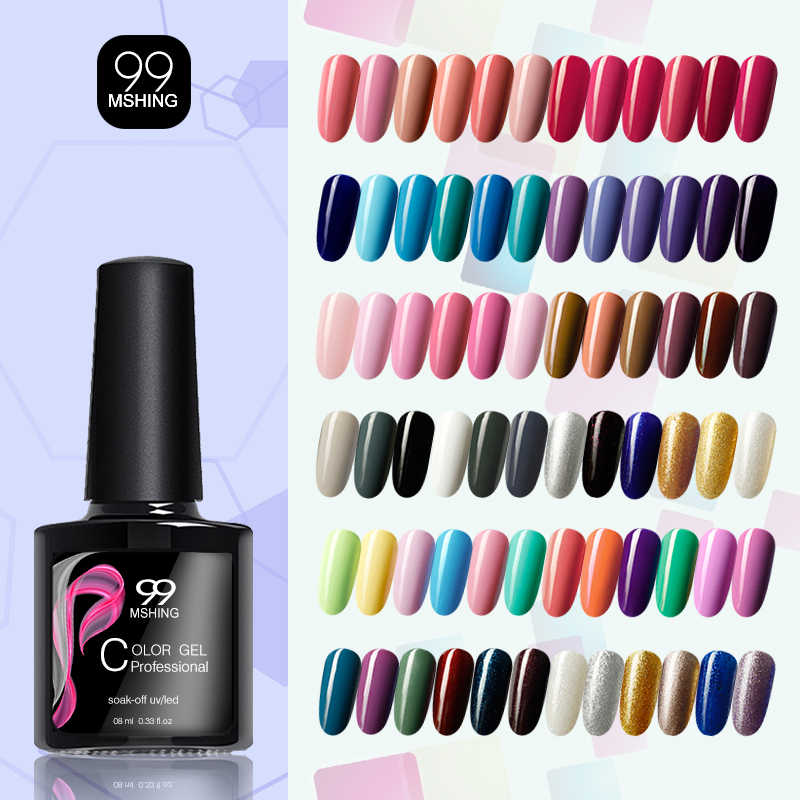 MSHING99 Gel Vernis ensemble UV Vernis Semi Permanent apprêt couche de finition 8ML Poly Gel Vernis Nail Art manucure Gel Lak Vernis ongles