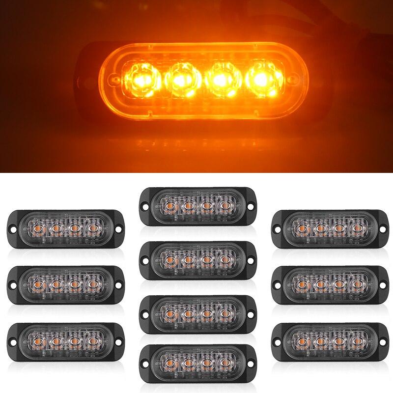 10pcs 12V 18W 4LED Car Truck Lights Led Marker Light Car Bus Truck Lorry Side Marker Indicator Trailer Light Rear Side Lamp