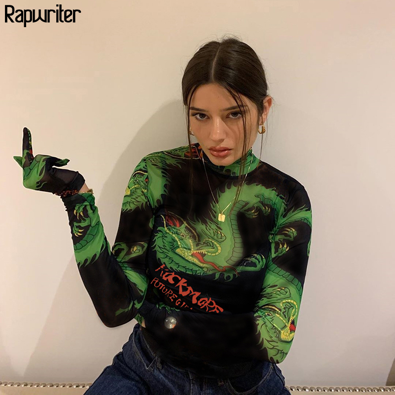 Rapwriter Chinese Style Turtleneck Long Sleeve Print Dragon Bodysuit  Women 2019 Streetwear Open Crotch Bodysuit Femme Autumn