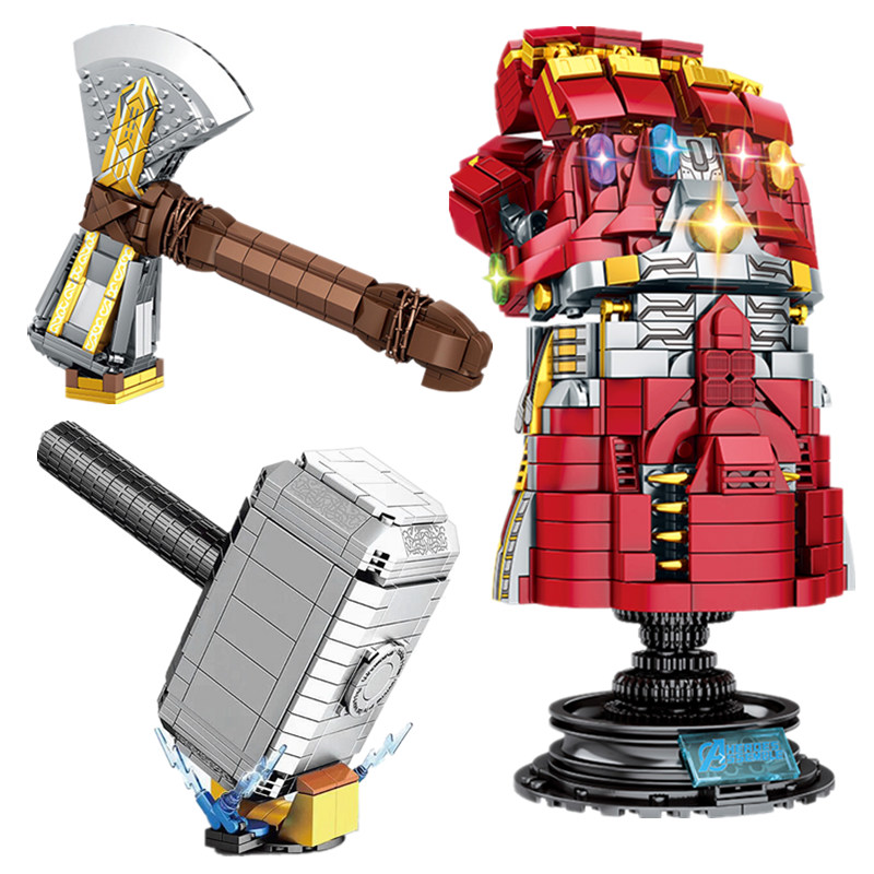 New Thanos Infinity Gauntlet Mjolnir Marvel Stormbreaker Fit Legoings Avengers Weapon Building Blocks Bricks Kids Toys Gift