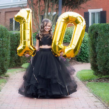 Hot  Girls Black Lace Tulle Two Piece Set Ball Gown Girls Birthday Dresses Gowns for New Year 2021