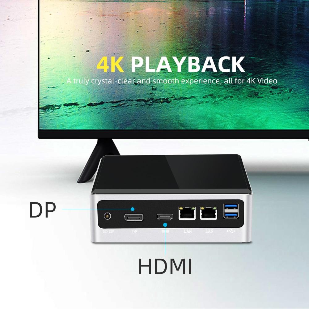 Mini PC Intel Core i7 10510U 2*DDR4 M.2 SSD NVMe Windows 10 Dual-Band WiFi Bluetooth 4.0 HDMI DP 4K 60Hz USB Type-C 2*Ethernet-4