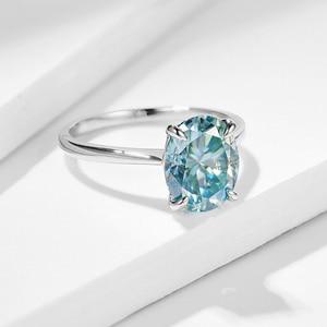 Image 3 - Kuololit ירוק כחול סוליטייר טבעת לנשים 10K מוצק זהב טבעת סגלגל Moissanite יהלומים לחתונה אירוסין בסדר תכשיטים