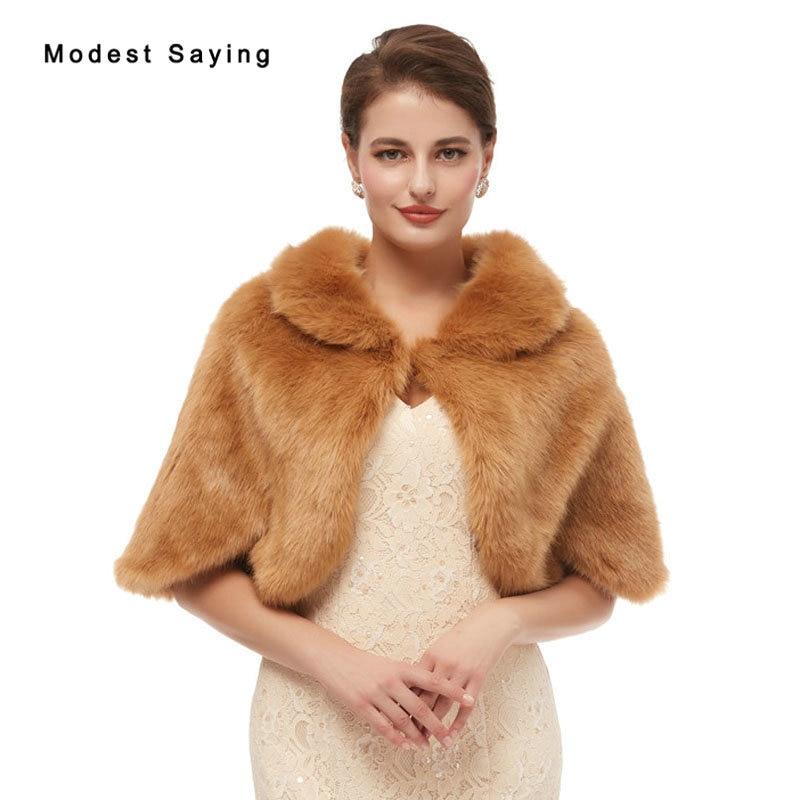 Elegant Brown Evening Party Faux Fur Shawls 2020 New Arrival Prom Lapel Collar Boleros Stoles Warm Shrugs Wedding Accessories