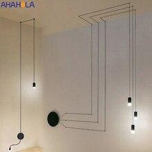 AC 90-260V cuerda bricolaje negro colgante luz de techo moderna nórdica lámparas colgantes araña luces colgante para el salón lámpara