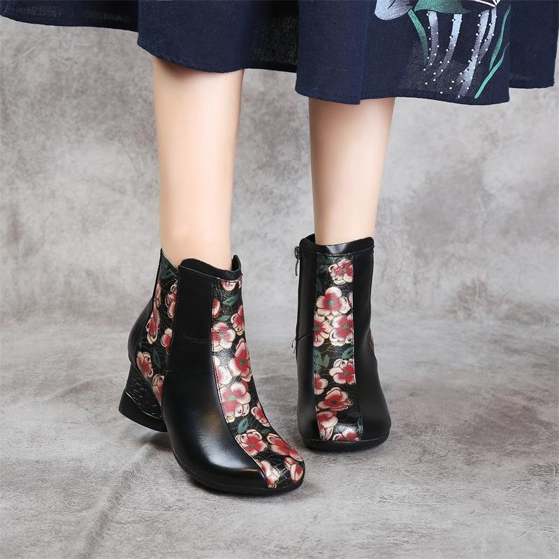 Buy High Quality 2020 Autumn Winter Ankle Boots for Women Pattern Genuine Leather High Heel Booties Ankle botas Flower Printed Shoes