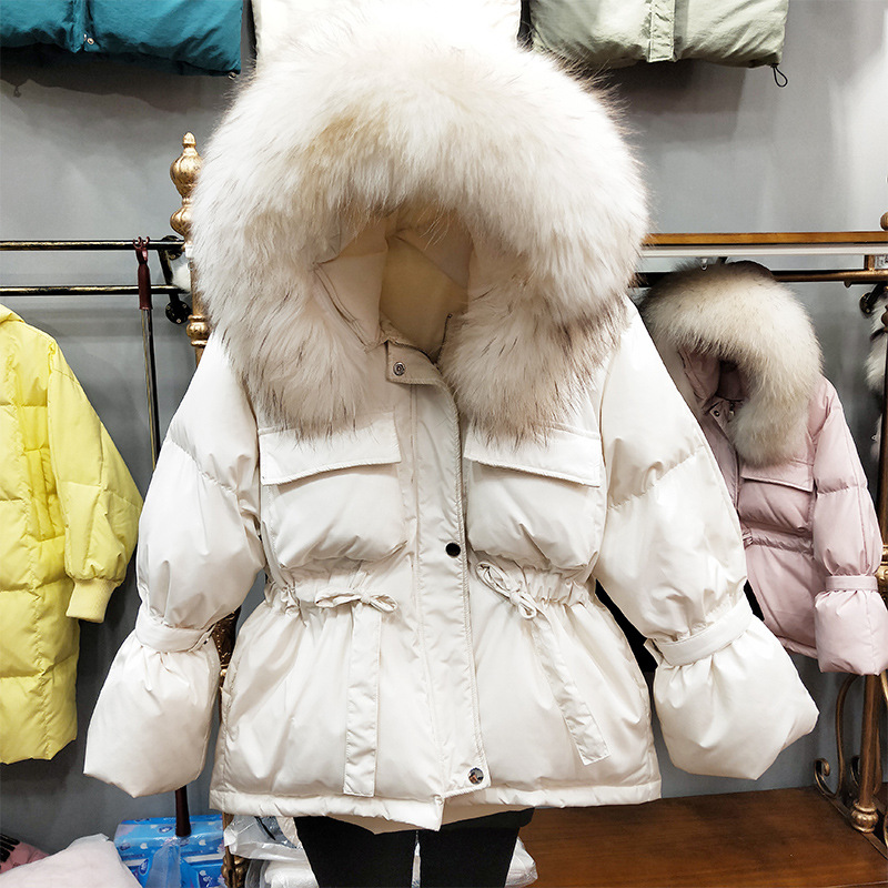 Image 4 - FTLZZ Large Natural Raccoon Fur Winter Jacket Women 90% White  Duck Down Coats Thick Warm Sash Tie Up Short Parkas  Snow CoatDown  Coats
