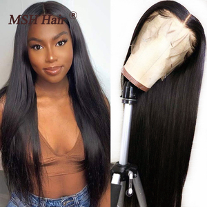 MSH Hair Brazilian Straight Human Hair Wigs 13x4x1 Middle Part Lace Part Wigs for Women 150% Density Non-Remy T Part Hair Wigs