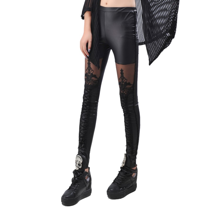 Women Leggings Synthetic Leather Slim Sexy Black Stitching Embroidery Bundled Hollow Lace Calzas Mujer Leggins Stretchy Hc