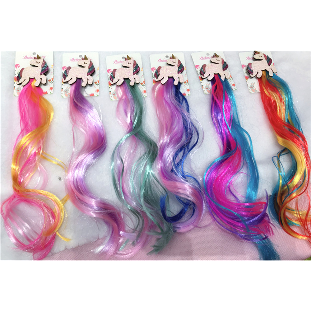New Girls Cute Colorful Wig Ponytail Unicorn Hair Clips Sweet Princess Hair Ornament Hairpins Kids Hair Accessories
