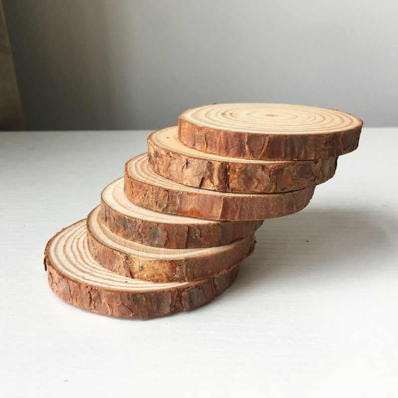 1pc 5 個未完成の木製スライス円 DIY クラフトクリスマスの装飾 Diy の工芸品誕生日ウェディングパーティーの装飾