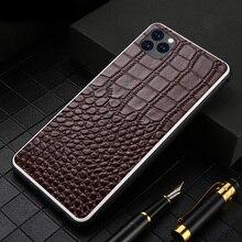 جراب هاتف من الجلد الطبيعي لهاتف آيفون 6 6S 7 8 Plus X XR XS MAX 360 غطاء حماية كامل لهاتف آيفون 11 11 Pro Max