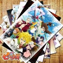 Póster de dibujos animados de Seven Deadly Sins, 10 unids/lote, pegatinas, postales, liodas, halcón, Diana, Ban, imagen de pared, tarjetas de regalo, Juguetes