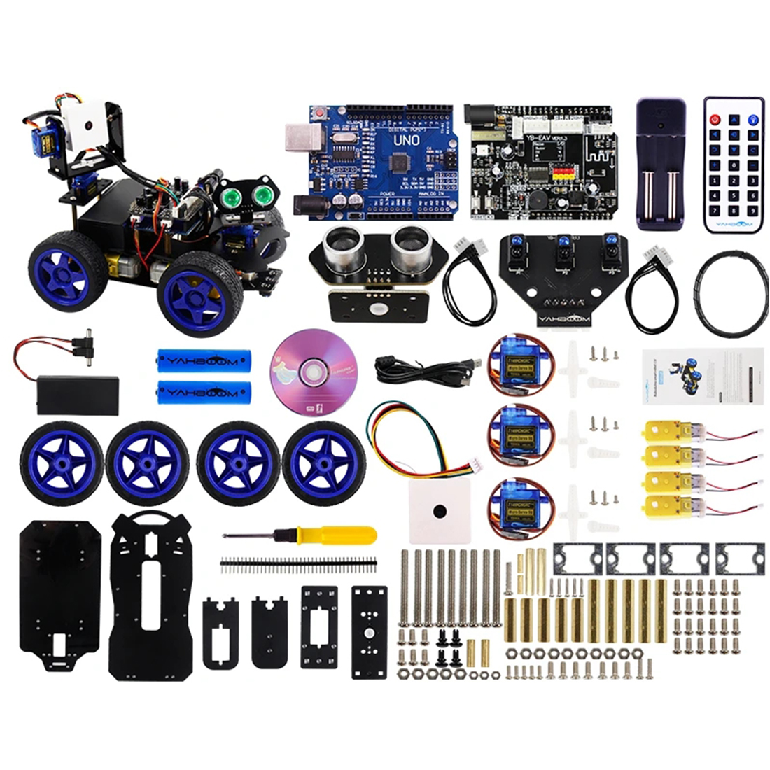 FOR Scratch3.0 Luminescent Ultrasonic Module Smart Robot Car Wifi Camera Gimbal Kit For Arduino UNO(with Two 18650 Batteries)