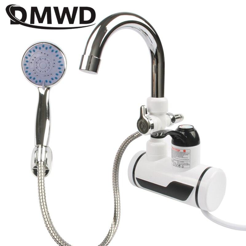 DMWD Электрический мгновенный кран для горячей воды, водонагреватель, быстрый нагрев, светодиодный дисплей температуры, безрезервуарный кран для кухонного душа, ЕС