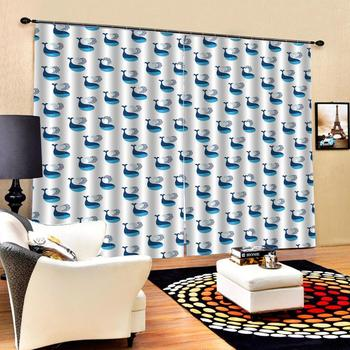 custom curtains Abstract dolphin 3d Curtains Blackout for Living Room Kids Bedroom Fabric