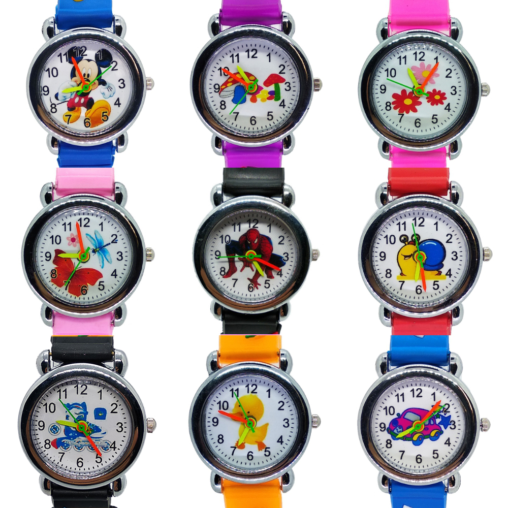 2019 New Toys Mickey Spiderman Car Children Watch Silicone Strap Quartz Kids Watches Applicable 2-9 Years Boys Girls Gifts Clock