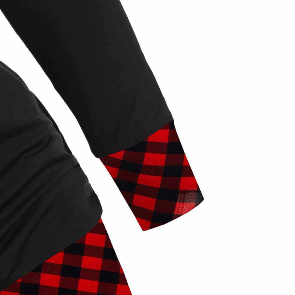 ผู้หญิง PLUS ขนาดเสื้อใหม่แขนยาวลายสก๊อตตรวจสอบปุ่ม V คอ Pullover ฤดูใบไม้ร่วงฤดูหนาวแฟชั่นอบอุ่น Casual Tops # A