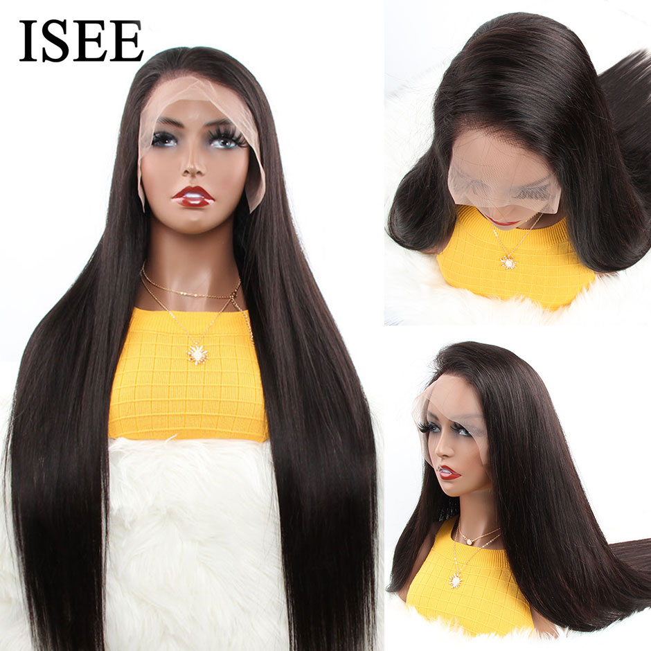Peruvian Straight 360 Lace Frontal Wig 150% Density Human Hair Wigs For Women ISEE HAIR Straight Lace Frontal Human Hair Wigs