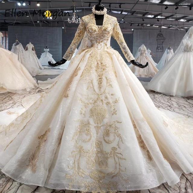 Ivoor Lange Mouwen Trouwjurken Met Gouden Kant Voor Vrouwen 2020 Prinses Puffy V hals Corset Real Foto Vintage Bridal jassen
