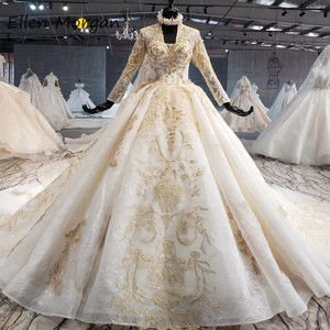 Image 1 - Ivory Long Sleeves Wedding Dresses with Gold Lace for Women 2020 Princess Puffy V Neck Corset Real Photos Vintage Bridal Gowns