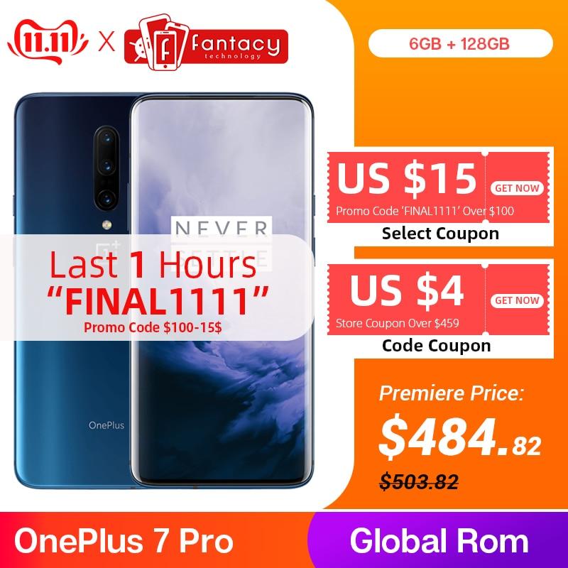 Globale ROM OnePlus 7 Pro 6GB 128GB Smartphone 48MP Triple Telecamere Snapdragon 855 6.67 Pollici AMOLED Display di Impronte Digitali UFS 3.0