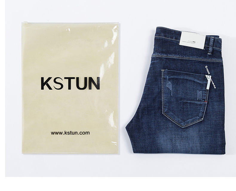 KSTUN Summer Jeans for Men Stretch Light Blue Denim Pants Slim Straight Regular Fit Casual Men's Clothes Wholesale Drop shipping 19