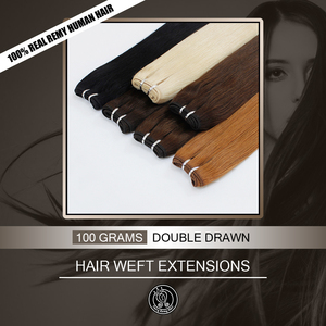 """Image 1 - Fairy Remy Hair Double Drawn 16"""" 18"""" 20"""" 22"""" Real Remy Natural European Human Hair Bundle Weft Extensions Weave 100g/piece"""