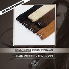 """Феи Remy волосы с двойным нарисованным 16 """"18"""" 20 """"22"""" настоящим Remy натуральные европейские человеческие волосы в пучке уток для наращивания плетение 100 г/шт."""