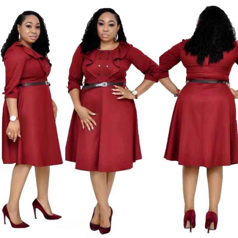 Le donne Africane Vestito di Stile di Estate Più Il Formato Signore Dell'ufficio Abiti Camicia Soild Abbigliamento Africano 2019