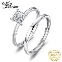 JewelryPalace corte princesa 0.6ct Zirconia cúbico boda Banda, anillo de compromiso de novia conjuntos de la joyería de la plata esterlina 925