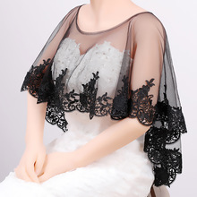 Zomer Zwart Kant Bolero Applicaties Tulle Jas Vrouwen Bridal Wraps Scoop Hals Bridal Party Accessoires