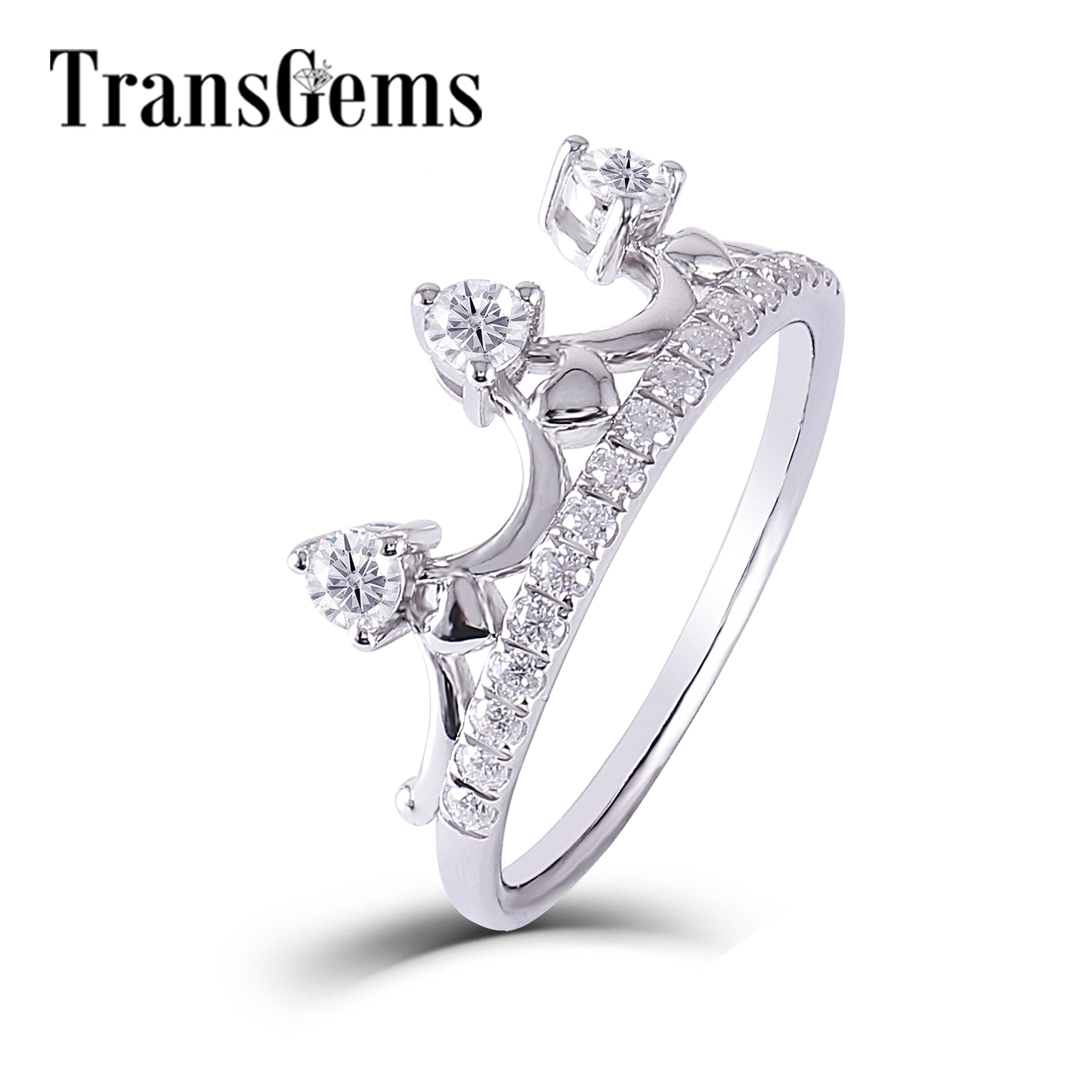 Transgems Solid 14K 585 White Gold F Color Crown Shaped Engagement Ring Wedding Band Anniversary GIfts