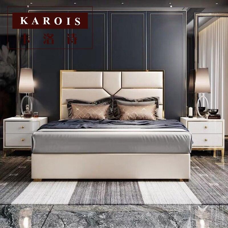 €613.23 |Mobilier om ensemble de chambre à coucher cadre de lit design  royal italien de luxe-in Lits from Meubles on AliExpress