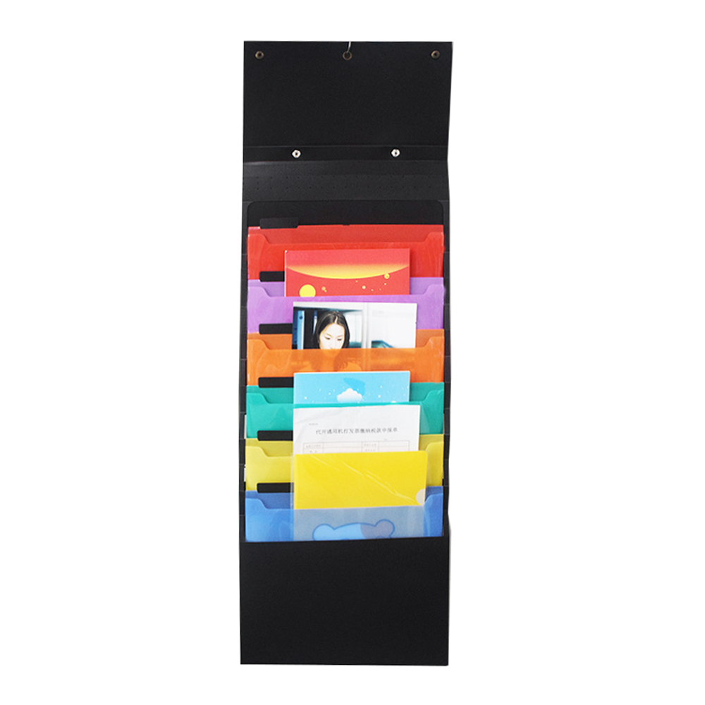 A4 & 6 Pockets Multi-functional Hanging File Folder Holder Cascading Wall Organizer With Handle Hanger Hooks Colored Layers