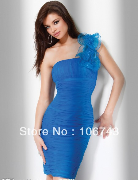 Free Shipping 2018 New Robe De Soiree Vestido De Festa One Shoulder Sexy Formal Blue Short Prom Party Gown Bridesmaid Dresses
